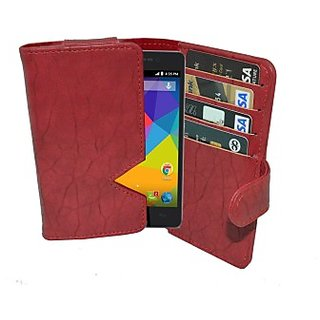 Totta Wallet Case Cover for Micromax Canvas Hue 2 (Red)