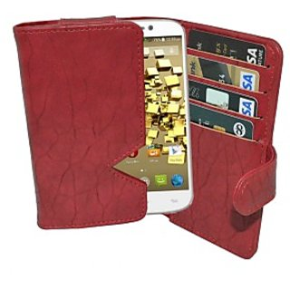 Totta Wallet Case Cover for Micromax Canvas Fire 3 (Red)