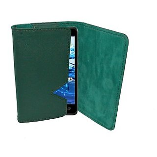 Totta Wallet Case Cover for Intex Aqua Turbo 4G (Green)