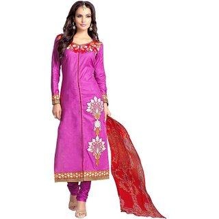 4fc09091d4 Swaron Purple Cotton Embroidered Salwar Suit Dress Material (Unstitched)