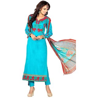 Swaron Blue Cotton Embroidered Salwar Suit Dress Material (Unstitched)