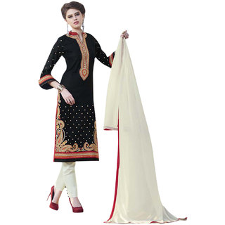 Surat Tex Black Color Party Wear Embroidered Cotton Un-Stitched Dress Material-H949DL337