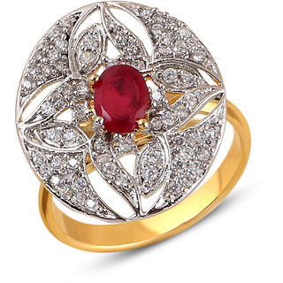 Inaya Red colour Brass  Copper ring for Women