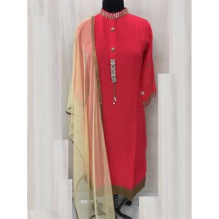 Georgette Kurti With Gota Work