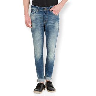 Locomotive Navy Blue Slim Fit Mid Rise Mens Jeans