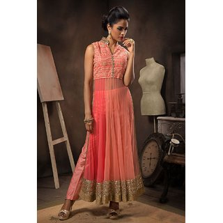 Craftliva Orange Embroidered Net Anarkali Suit