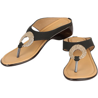 GLITZ Womens Black Fashion Sandals