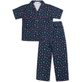GreenApple Girls Organic Cotton Heart Pattern Pyjama Set
