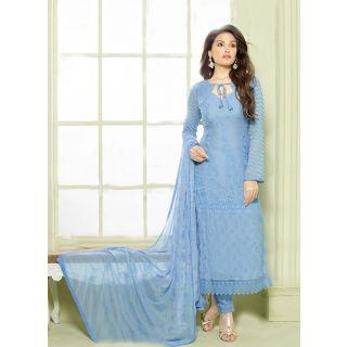 Fabkazs Designer Periwinkle Blue Chiffon Dress Material