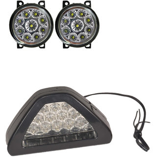 Combo of 9 LED fog lamp +  Brake Light D Shape White for Mahindra Scorpio
