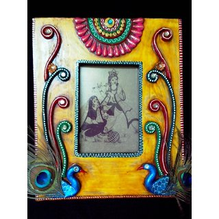 Rajasthani clay and wood art: Peacock Photo Frame