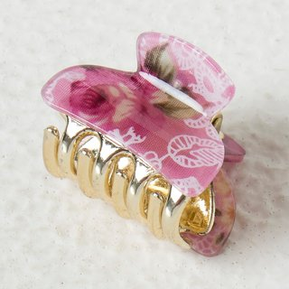 Floral Printed Light Pink Color Clutcher Hair Claws