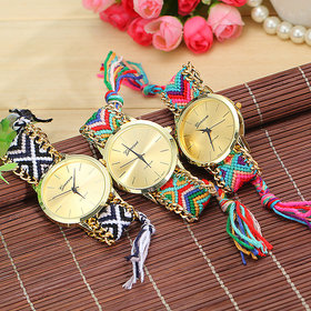 KDS Handmade Braided Friendship Bracelet Geneva Gold Ladies Watch ( Only 1 piss )