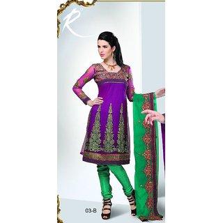d2e2366d02 Brijraj Purple Net Resham Embroidered Beautiful Anarkali Suit With Net  Dupatta