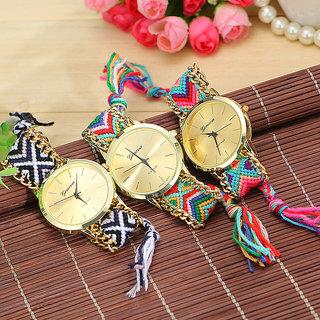 Handmade Braided Friendship Bracelet Geneva Gold Ladies Watch