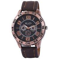 Gravity Round Dial Black Leather Strap Mens Quartz Watch