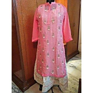 Beautiful pink georgette kurti with heavy work inner cotton silk