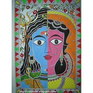 Madhubani Painting original theme Ardh Nariswar