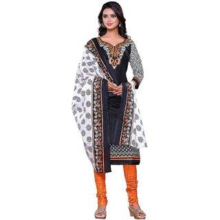 AlviraFab Black Satin Cotton Unstitched Dress Material(AF1012)