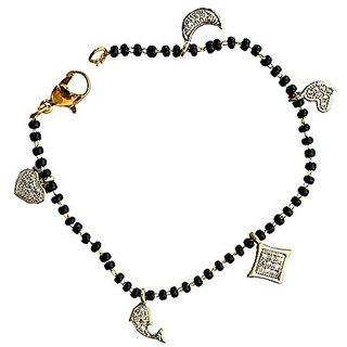 GirlZ! Trendy Fashion American Diamonds Studded Gold Plated Mangalsutra Cum Bracelet for Women