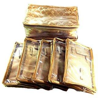 Lnc 5nakleshpauch Jewellery Storage Vanity Makeup(Golden)