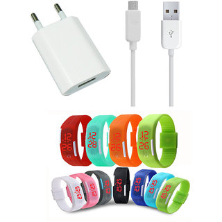 USB Travel Charger and Waterproof Digital LED Watch Combo for Micromax Canvas Pulse 4G E451