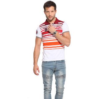 Duke Duke Stardust Burgandy Cotton Blend T-Shirt For Men
