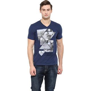 Duke Stardust Indigo Coloured Cotton Blend TShirt For Men