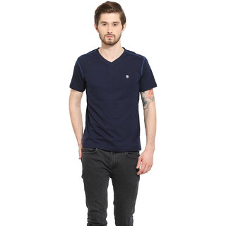 Duke Stardust Navy Coloured Cotton Blend TShirt For Men