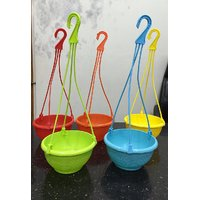 Malhotra Plastic Hanging Planter Set Of 5Pcs Multy Colors