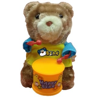 Windup Teddy Bear Drummer Sound Toy for Kids