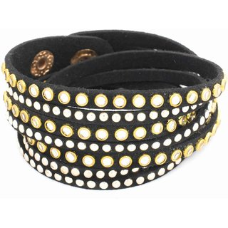 Acsentials Big Studded Black Fake Leather Bracelet(BL011A)