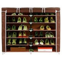 Standard Double Dustproof Multicolor Polymer Dampproof Natural Finish Shoe Rack - DST2712