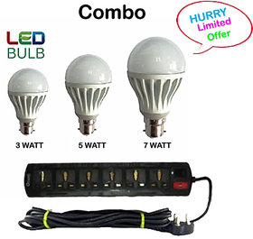Brio Bright Combo Of Led Bulb 3W 5W 8W  6 In 1 Extention Chord