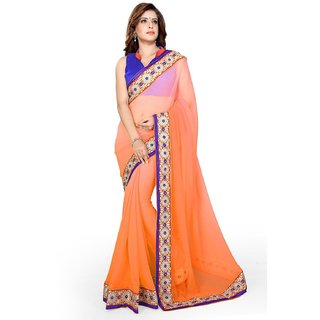 Sarees Womens Chiffon Lace Work Saree