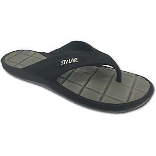 STYLAR Nicholas Flip Flops (Black and Grey)