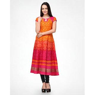 Shakumbhari Orange Cotton Round Neck Half Sleeve Floral Tunic