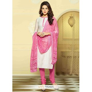 Cotton  Chanderi White And Rose Pink Churidar Suit For Casual