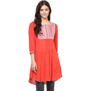 Shakumbhari Pink Rayon Round Neck Elbow Sleeve Embroidered Tunic