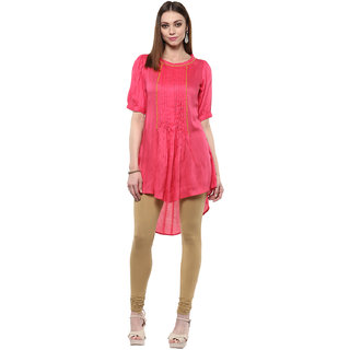 Shakumbhari Pink Rayon Round Neck Half Sleeve Solid Tunic