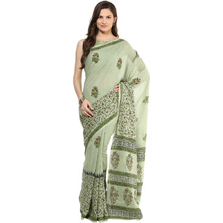 Shakumbhari Green Cotton Printed Saree With Blouse