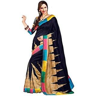 Mfg Pure Handlooms Silk Paithani Sarees  Dark Black Bhagalpuri Art silk Casual Printed Saree