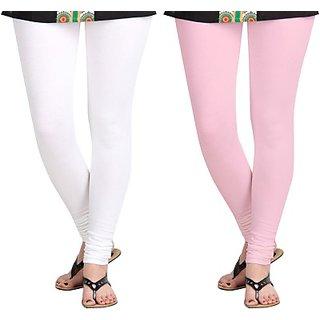 Womens White, Pink Leggings By Ganesh Cloth
