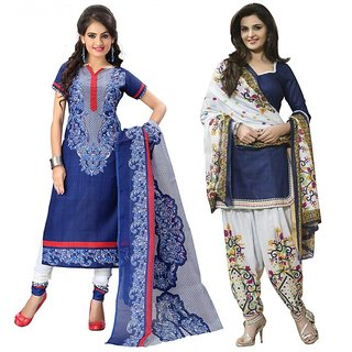 Thankar Combo One Blue Printed Dress Material And Navy Blue  White Printed Polycotton Dress Material