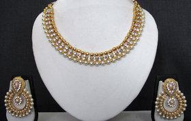 Double Line Stone Pearl Polki Necklace Set