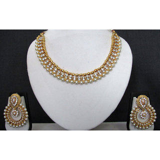 Double Line Stone Pearl Polki Necklace Set