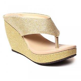 BLUE-TUFF Girls Heels wedges Sandal 064-Golden