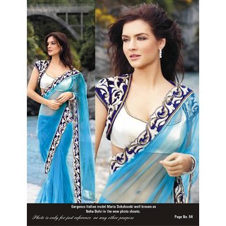 1212c65687328 Sea Blue Net Designer Saree With Shrug Style Blouse In India ...