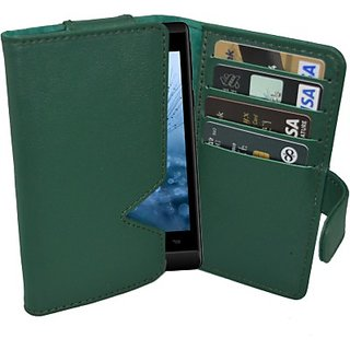 Totta Wallet Case Cover for Celkon Q58 Explore         (Green)