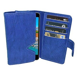 Totta Wallet Case Cover for Intex Aqua i5 Octa         (Blue)